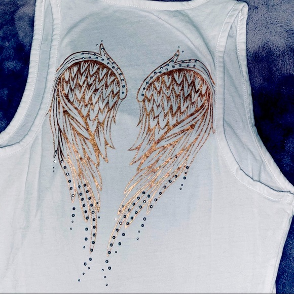👻 White Guess Tank Top with angel wings detail